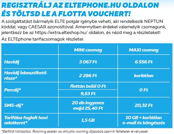 ELTE Phone Tarifák - 2021